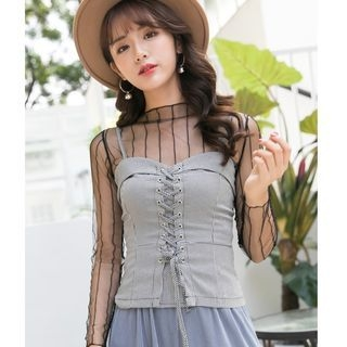 Lace-Up Camisole Top 1063689381