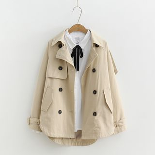 Image of Trench Jacket / Tie Neck Blouse
