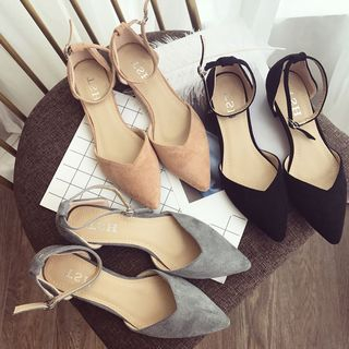 Image of Ankle Strap Pointed Flats
