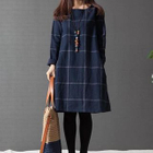 Long-Sleeved Plaid Dress 1596