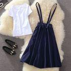 Set: Plain Short Sleeve T-Shirt + Plain Suspender Skirt 1596