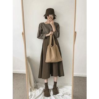 Band-Waist A-Line Long Skirt 1062110089