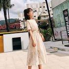 Set: Plain Short Sleeve T-Shirt Dress + Lace Pinafore Dress 1596