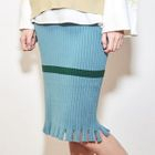 Contrast-Trim Ribbed Knit Skirt 1596
