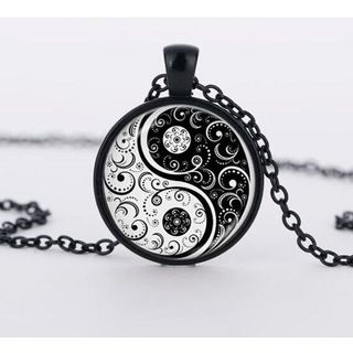 Image of Alloy Yin and Yang Pendant Necklace