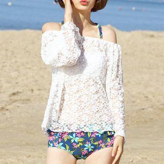 Image of Set: Floral Bikini + Lace Top