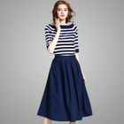 Set: Elbow-Sleeve Striped Knit Top + A-Line Skirt 1596