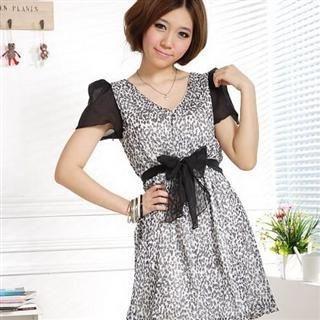 Buy Xunia Contrast-Sleeve Chiffon Dress with Sash Black – One Size 1022823282