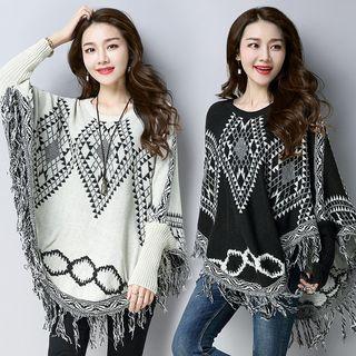 Patterned Knit Poncho 1063162643