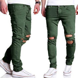 Plain Distressed Pants