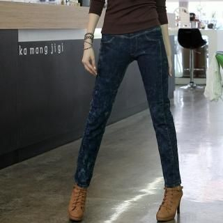 Elasticized Acid Wash Skinny Jeans