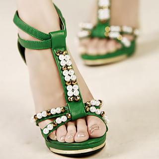 Buy Kvoll Beaded T-Strap Sandals 1023009446