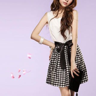 "Buy Tokyo Fashion Sleeveless ""Bow"" Gingham Dress 1022532580"
