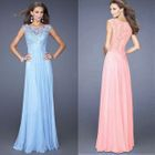 Sleeveless Lace Panel Sheath Evening Gown 1596