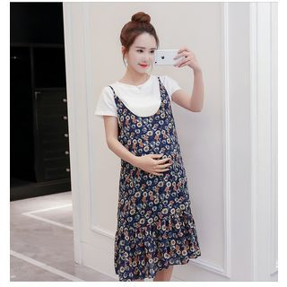 Maternity Set: Short-Sleeve Plain T-Shirt + Strappy Floral A-line Dress 1058281755