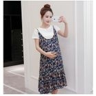 Maternity Set: Short-Sleeve Plain T-Shirt + Strappy Floral A-line Dress 1596
