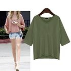 Ruffle V-neck Elbow-Sleeve T-shirt 1596