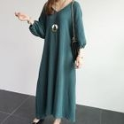 V-Neck Balloon-Sleeve Maxi Dress 1596