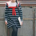 Bow-Accent Striped Tunic 1596
