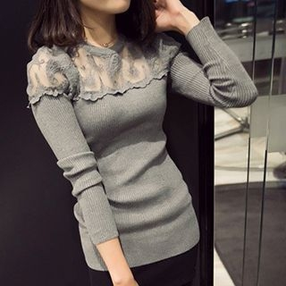 Lace Panel Ribbed Long-Sleeve T-Shirt 1052799045