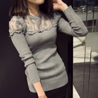 Lace Panel Ribbed Long-Sleeve T-Shirt 1596