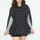 Double-Breasted Check Hooded Cape 1596