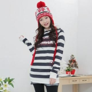 Picture of CLICK Printed Striped Sweater with Hood 1021706127 (CLICK Dresses, Womens Dresses, South Korea Dresses, Sweater Dresses)