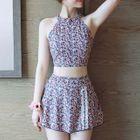 Set: Floral Print Halter Tankini Top + Swim Skirt 1596