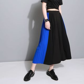 Color Panel Pleated Wide Leg Pants 1059844011