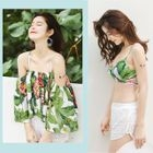 Set: Floral Print Off-shoulder Cover-up + Bikini + Shorts 1596