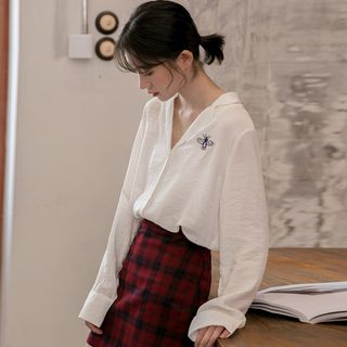 Baseris Embroidered Shirt White - One Size