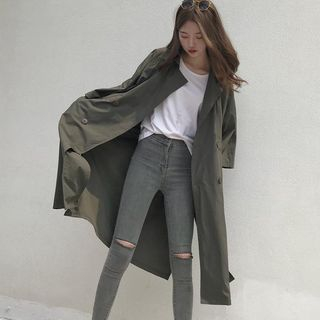 Image of 3/4-Sleeve Trench Coat