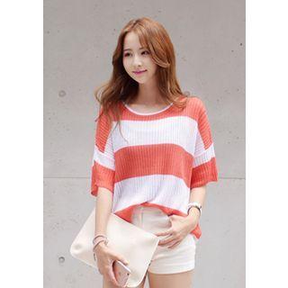 Drop-Shoulder Color-Block Knit Top 1050816474