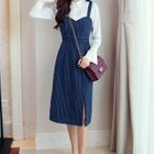 Pinstriped Midi Pinafore Dress 1596