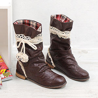 Picture of Sechuna Lace Trimmed Boots 1022737257 (Boots, Sechuna Shoes, Korea Shoes, Womens Shoes, Womens Boots)