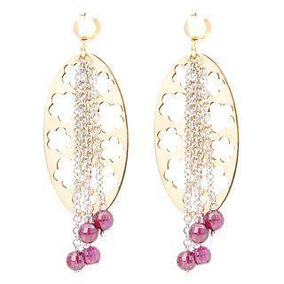 Image For 18K White & Yellow Gold Dangling Earrings with Colorstones
