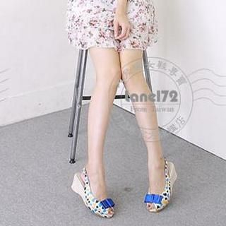 Buy Lane172 Heart Print Wedge Sandals 1023045991