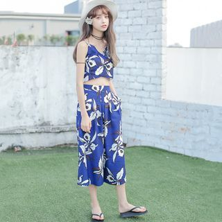 Set: Printed Camisole Top + Cropped Wide Leg Pants 1055859519
