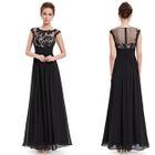 Panel Sleeveless A-Line Evening Gown 1596