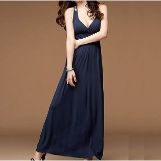 Sleeveless Cutout-Back Maxi Dress Dark Blue