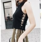 Lace Up Sleeveless Knit Top 1596