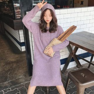 Image of Hooded Long-Sleeve Midi Knit Dress