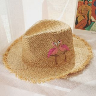 Embroider | Khaki | Straw | Pink | Size | Sun | Hat | One