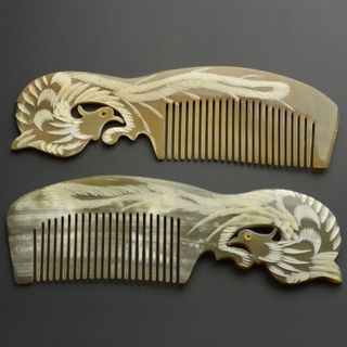 Image of Engraved Phoenix Horn Hair Comb 342 - Yellow - 18cm