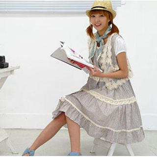 Buy Sechuna Lace Trim Gingham Dress 1022523737