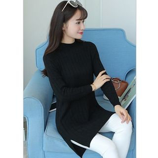 Image of Mock Neck Rib Long Sweater