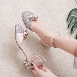 Image of Ankle-Strap Glitter Low-Heel Sandals
