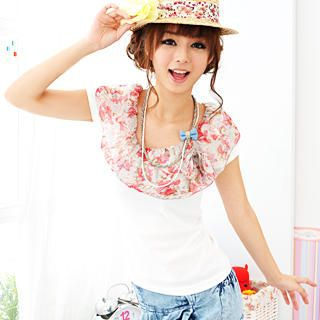 Buy 59 Seconds Floral Chiffon Cape-Collar Top White – One Size 1022791728