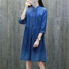 3/4-Sleeve A-Line Denim Dress 1596