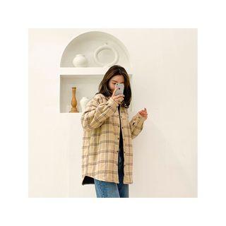Snap-button Plaid Shirt Beige - One Size
